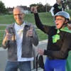 Top Pledge-Getter and winner of the Grand Prize trip for two to France, Eric Mueller is cheered by Greenway Superhero Tim Springer. Way to go, Eric!